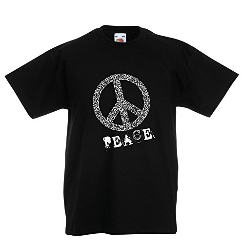 lepni.me Kinder Jungen/Mädchen T-Shirt FRIEDENSsymbol - 1960er Jahre 1970er Jahre Hippie Hippie, Street-Kleidung, Friedenszeichen, Sommer Festival Hipster Swag (9-11 years Schwarz Mehrfarben) (70's Disco Kostüme Für Kinder)