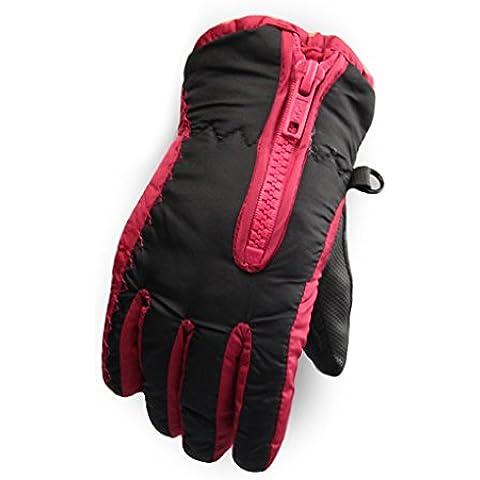 QHGstore Caliente del invierno a prueba de viento impermeables guantes de montar a caballo en snowboard Esquí de los niños negro rojo