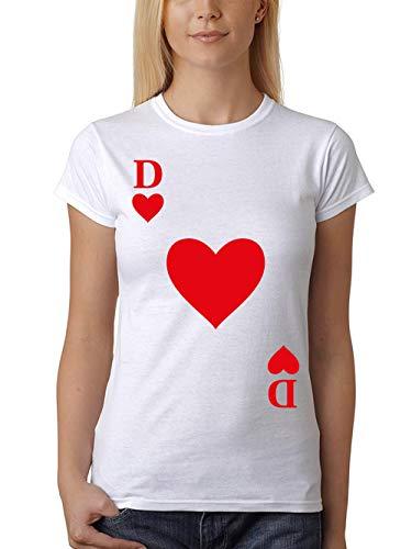 clothinx Damen T-Shirt Fit Karneval & Fasching Spielkarte Herz Dame Kostüm Weiß Größe ()