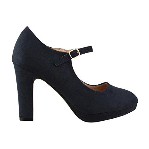 Elara Damen Pumps | Bequeme Riemchen High Heels | Vintage-Style | Abendschuh Trendy | Chunkyrayan | 8906 Blue-40 - 3