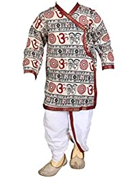 FOCIL Cream Om Printed Dhoti Kurta Pant Set For Kids