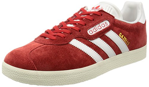 Adidas Mens Gazelle Super Suede Trainers Rouge (Red/Vintage White/Gold Metallic)