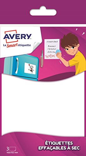 (Avery 3Stück Blatt SELBSTKLEBENDE Trocken abwischbare Family–102x 152mm–Weiß (faesa6))