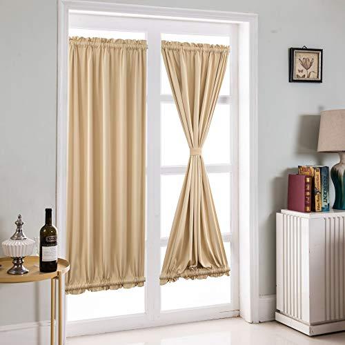 JIANGSN Wärmeisolierter Verdunkelungsvorhang Verdunkelungsvorhang für Fenstertüren, Sichtschutz-Türvorhang/Vorhang, 46 x 63 Zoll (1 Paneele),Beigeshadecloth,54 * 72in