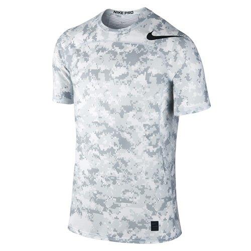 Nike Herren M NP Hypercool Top SS Fttd D Camo Kurzarmshirt, Weiß/Reines Platin/Schwarz, S (Nike Camo Pro)