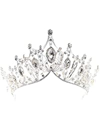 REYOK-Corona de la Reina de Cristal, Tiara Plata, diseño de Corona de Cristal Grande para Fiesta o Boda de Las Mujeres