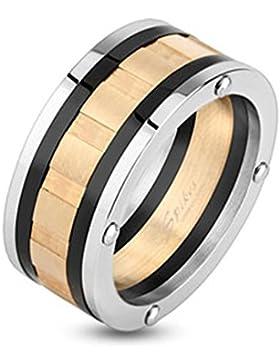 Paula & Fritz® Ring aus Edelstahl Chirurgenstahl 316L silber schwarz rosé vergoldet 10mm breit Dreifarbig gerasterter...