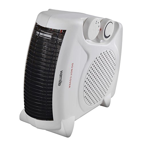 Warmlite WL44001 Fan Heater, 2 Heat Settings, 2000 W, White/Black