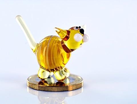 Chat Jaune–Rayé Blanc–Figurine chat chaton en verre–jaune avec rayures blanches miniature–Figurine porte-bonheur en verre Mini 1K de 6animaux en verre Décoration Étagère Vitrine