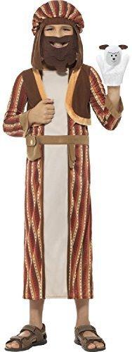 Jungen braun shäfer Weihnachten Krippe Joseph Kostüm mit Kopfbedeckung & angenäht Bart & Puppe 4-12 Jahre - Braun, 10-12 years