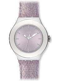 Swatch YNS122 - Reloj analógico de mujer de cuarzo con correa de piel lila