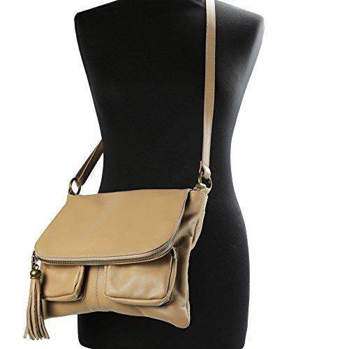 Olivia–Umhängetasche Damen unterzeichnet Olivia/Tasche aus Echtleder/weichem Leder, Schwarz - schwarz - Größe: Unique beige