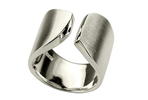 SILBERMOOS XL XXL Ringe in großen Größen Witziger Ring Damenring offen diagonal matt Größe 64, 66, 68, 70 Sterling Silber 925, Größe:70 (22.3)