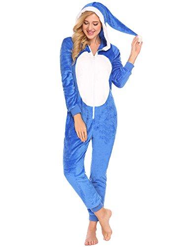 ADOME Damen Strampelanzüge Fleece jumpssuits Schlafanzug Overall Kapuzenkostüm Sleepwear mit Reißverschluss und Kapuze