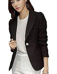 Mujer Chaqueta Primavera Otoño Negocios Chaqueta De Traje Elegantes Moda  Casual Office Manga Larga Oficina Slim Fit Americana Colores… 639b141884d0