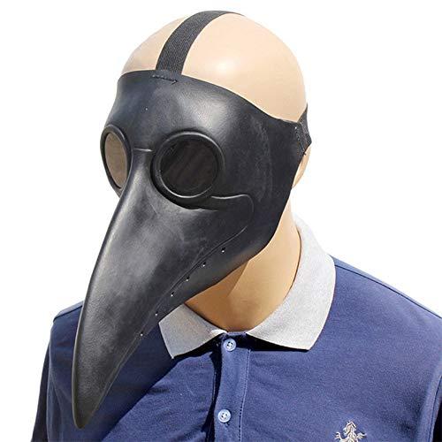HAORONG Pest Doktor Vogel Maske Lange Nase Schnabel Cosplay Steampunk Halloween Kostüm Requisiten (schwarz)