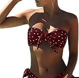 UMIPUBO Bikini Mujer Dos Piezas Ropa con Estampado de Lunares Push-Up Traje de baño con Lazo Acolchado Conjunto de Bikini de Playa Acolchado Bañador
