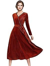27c07b4b94e9 YiLianDa Donna Vestiti Vintage Scollo a V Lunga Manica Vestito Velluto Abito  di Sera Prom Abiti