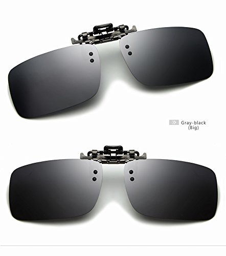 Yiph-Sunglass Sonnenbrillen Mode Neueste Männer Polarisierte Brillen Clip Auf Myopie Gläser Nachtsichtbrille Tag Und Nacht Fahren TAC Sonnenbrille UV400 (Color : Gray-Black, Size : Big)