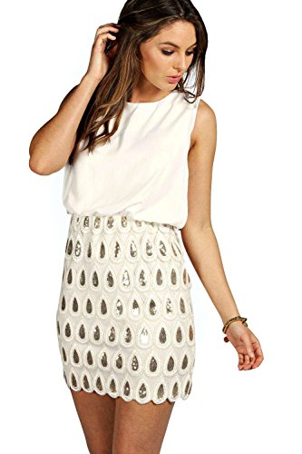 Creme Damen Boutique Naya Sequin Chiffon, figurbetontes Kleid Sahne