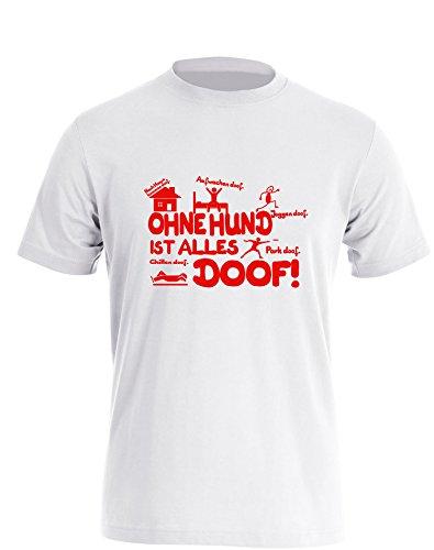 Ohne Hund ist alles doof - Herren TShirt Weiß / Rot