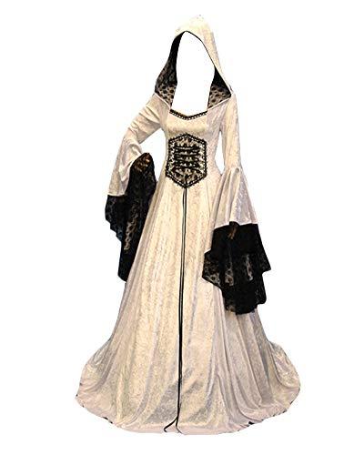 GladiolusA Damen Mittelalterkleid Renaissance Mittelalter Kostüm Viktorianisches Kleid Halloween Langarm Gotisch Kleider Weiß S