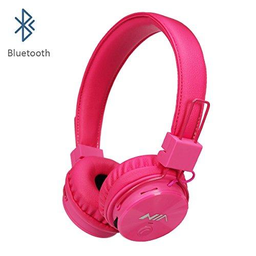 Invech Bluetooth Kinder Kopfhörer mit shareport, Wireless / Wired Noise Cancelling Über-Ohr-Kopfhörer, faltbare Kinder-Headset mit integriertem Mikrofon zum Anrufen (Rosa)