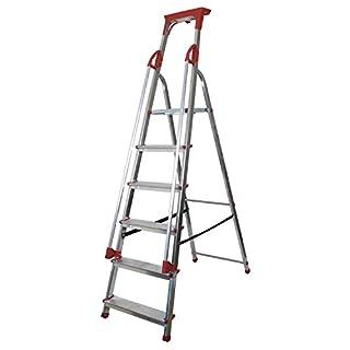 Abbey Aluminium Safety Platform Step Ladder With Handrail & Tool Tray 6 Tread