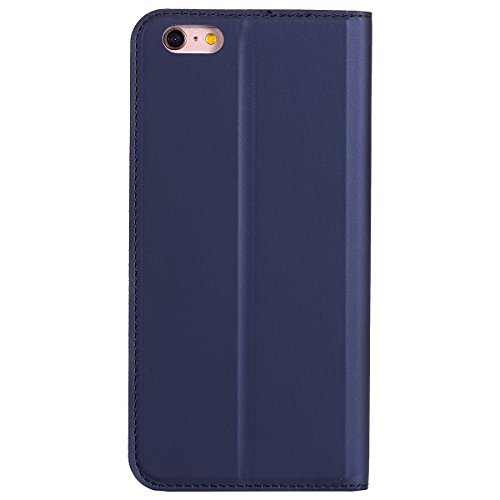 Cover per iphone 6S Portafoglio, iphone 6 4.7 Custodia in Pelle Rigida, Ekakashop Puro Colore Moda Smooth Surface No Fibbia Strong Magnetico Ultra Slim Custodia in PU Pelle Flip Folio, Gomma in Silic Profondo Blu