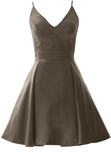 MACloth Elegant V Neck Mini Prom Homecoming Dress Wedding Party Formal Gown Pewter