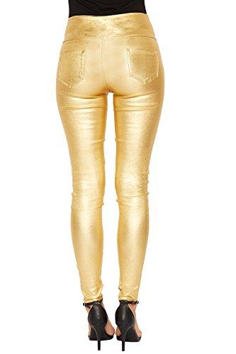 WEARALL Femmes Or Éclat Maigre Jeans Dames Élevé Bouton Taille Métallique Fermeture Éclair Poche - 36-44 Or