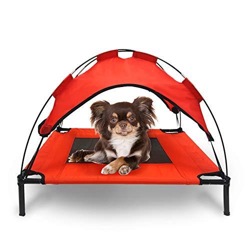 Mindful Grasshopper Erhöhtes Hundebett mit Baldachin, erhöhtes atmungsaktives Bett für Kühlung, langlebig, kaubeständig, Zeltkonstruktion, für drinnen und draußen, wasserdicht -