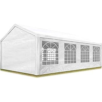 TOOLPORT Tente de réception 4x8 m pavillon Blanc bâche PE épaisse de 180  g/m² imperméable Tente de Jardin