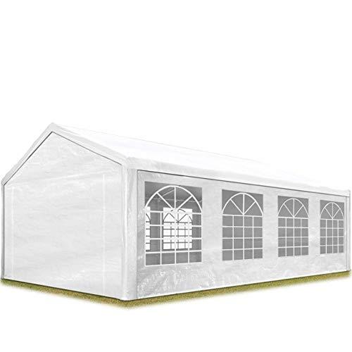 TOOLPORT Partyzelt Pavillon 4x8 m in weiß 180 g/m² PE Plane Wasserdicht UV Schutz Festzelt Gartenzelt