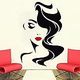 Fotomurale Salone di bellezza per le labbra rosse della signora Vinyl Sticker Home Decor Parrucchiere Acconciatura re Hairdo re Finestra Decalcomania 58X
