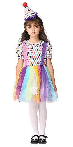 EOZY Kinder Clown Kostüm Mädchen Karneval Clown Kleid Party Fasching Kostüm mit Haarreif S Bruste - Kleinkind-mädchen Clown Für Kostüme