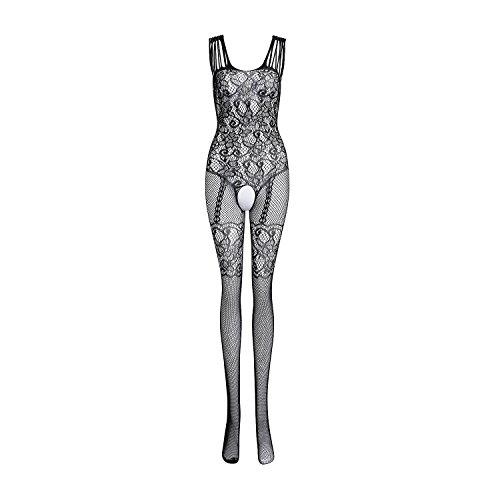 SUNNOW® Damen Unterwäschen Reizwäsche Netz Strumpfhose Bodystockings Hohle Blumen Jumpsuit Frauen Bodysuit Nachtwäsche Dessous (Einheitsgröße, Schwarz)