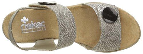 Rieker 62460-64, Bout Ouvert Femme Beige (Fango/Silver)