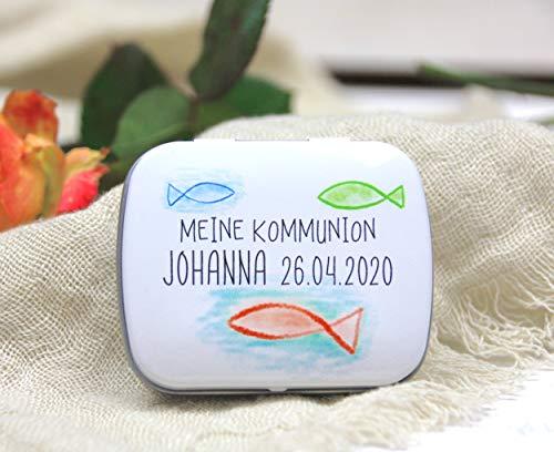 3 STÜCK Geschenke für Gäste - Gastgeschenk zur Kommunion, Konfirmation, Firmung, Taufe - direkt bedruckte & personalisierte Döschen - Colorful Sea