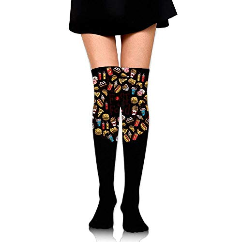 quanzhouxuhuixiefu Women Crew Socks Thigh High Over Knee Fast Food Burger Dress Legging Casual Compression Stocking 50CM Fast-casual-food