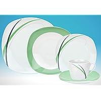 Servizio da tavola 60pezzi per 12persone Aura in porcellana, colore: bianco con decorazione