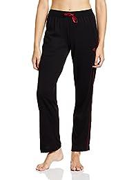 Jockey Women's Relaxed Pants (8901326165287_1305_L_Black & Jester Red)