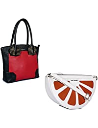 THE MAKER Combo Of Pink And Black Synthetic Leather Women Handbag With White And Orange Synthetic Leather Sling...