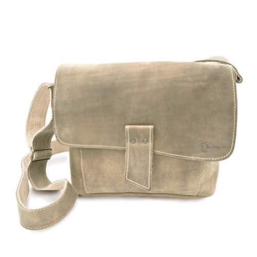 Made in Germany Vintage Umhängetasche - Schultertasche VENEZIA aus hochwertigem Leder in braun inkl. Bio-Lederpflege von THIELEMANN -