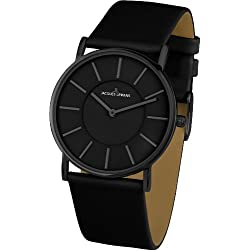 Jacques Lemans York 1-1621B Ladies Black Leather Strap Watch