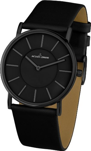 Jacques Lemans York 1-1621B Ladies Black Leather Strap Watch