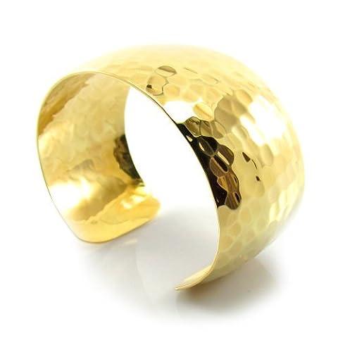 MGD, 30mm Messing gehämmert goldfarben Breite Manschette Armband. Verstellbare Armreif eine Größe passend für alle, Mode Schmuck für Frauen, Jugendliche und Mädchen, je-0047b