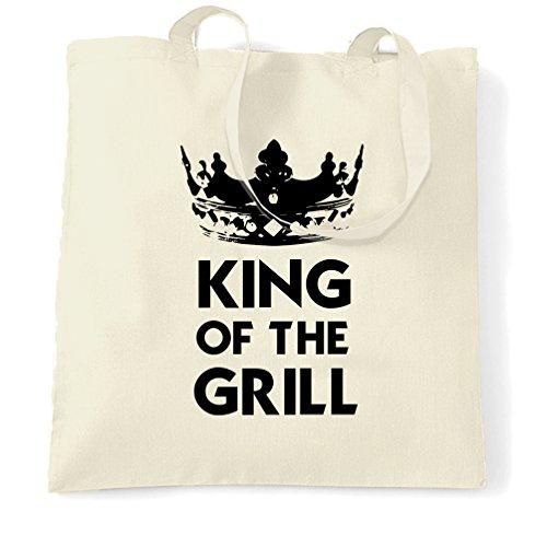 King Of The Grill Logo Slogan Entwurf druckte Dad Vater Tragetasche (Nat Grill)