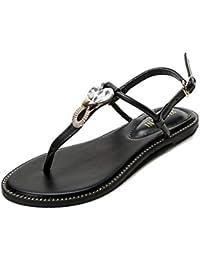 JRenok Damen Flach Sandalen T-Strap Strass geschnallt Gladiator Sandale Clip Toe Flip Flop Casual Sommerschuhe