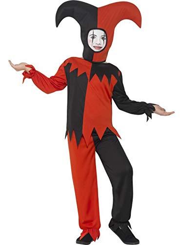 Kostüm Evil Jester Kind - erdbeerclown - Mädchen Kinder Kostüm Verrückter Hofnarr Narr Clown Harlekin mit Shirt Hose und Kappe, Crazy Creepy Jester, perfekt für Halloween Karneval und Fasching, 104-116, Rot